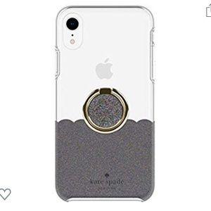 Kate Spade Black Multi Glitter Scallop iPhone XR